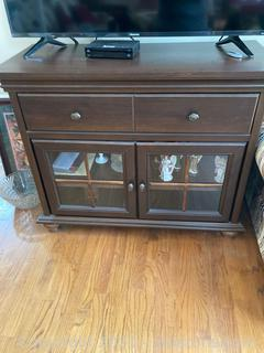 Rich Walnut Color TV Stand W/ 1 Drawer and Adjustable Shelf Behind Doors